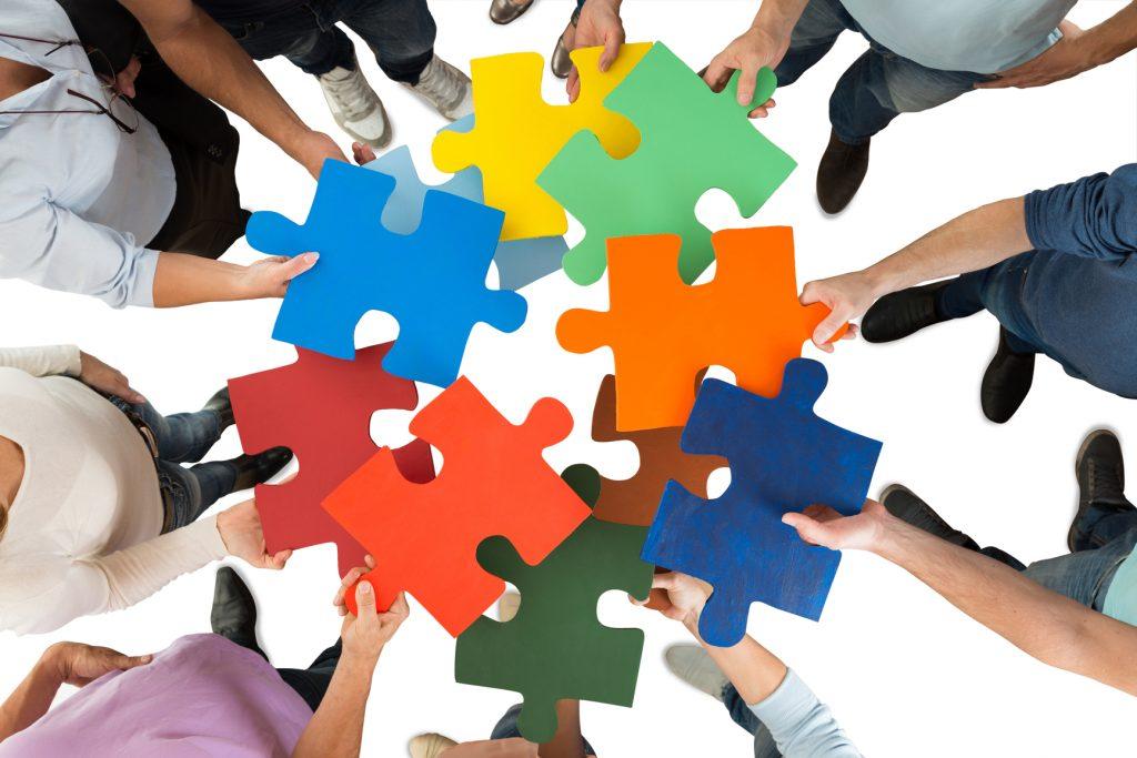 Visual Thinking - Puzzleteile können aus Teilen ein großes Ganzen bilden