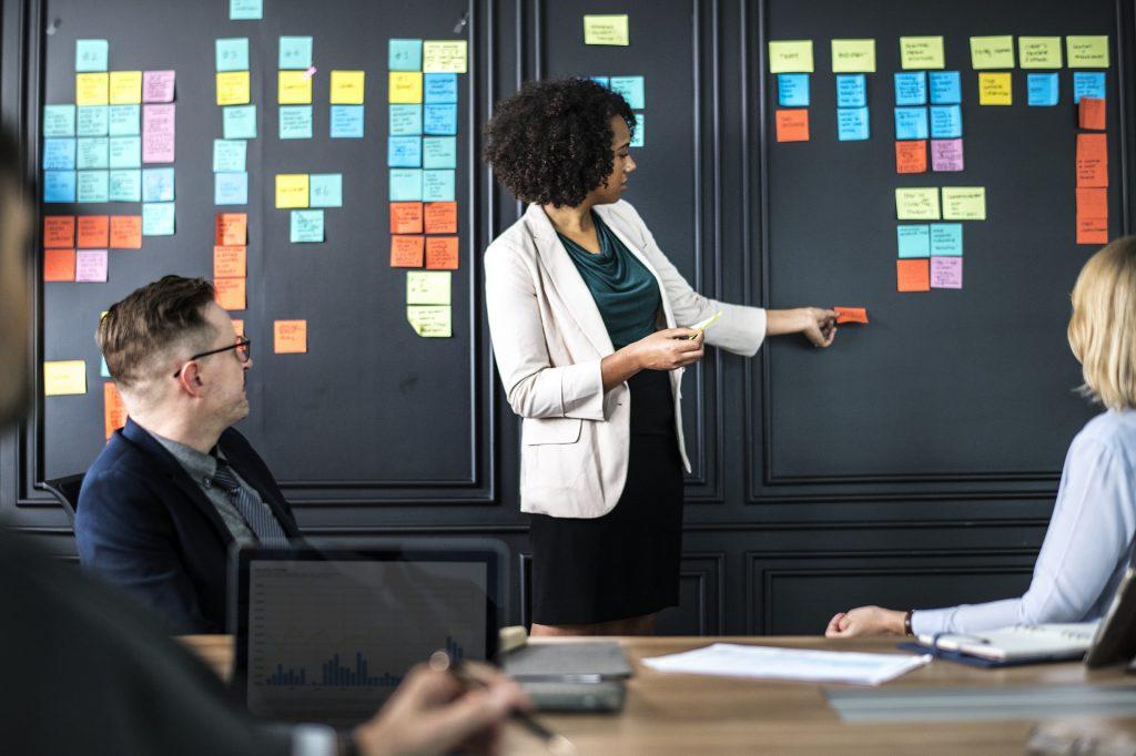 Teamwork im Design Thinking mit vielen Haftnotizen